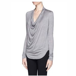 Helmut Lang Gray Cowl Neck Jersey Knit Top